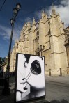 Photographic exhibition of the flamenco women of Spain, nr, the Cathedral, Seville.